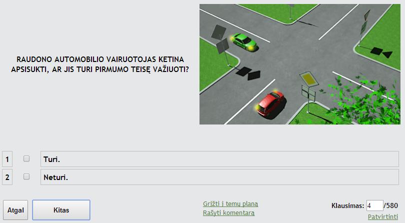 Vairavimo teorijos egzaminas Regitroje