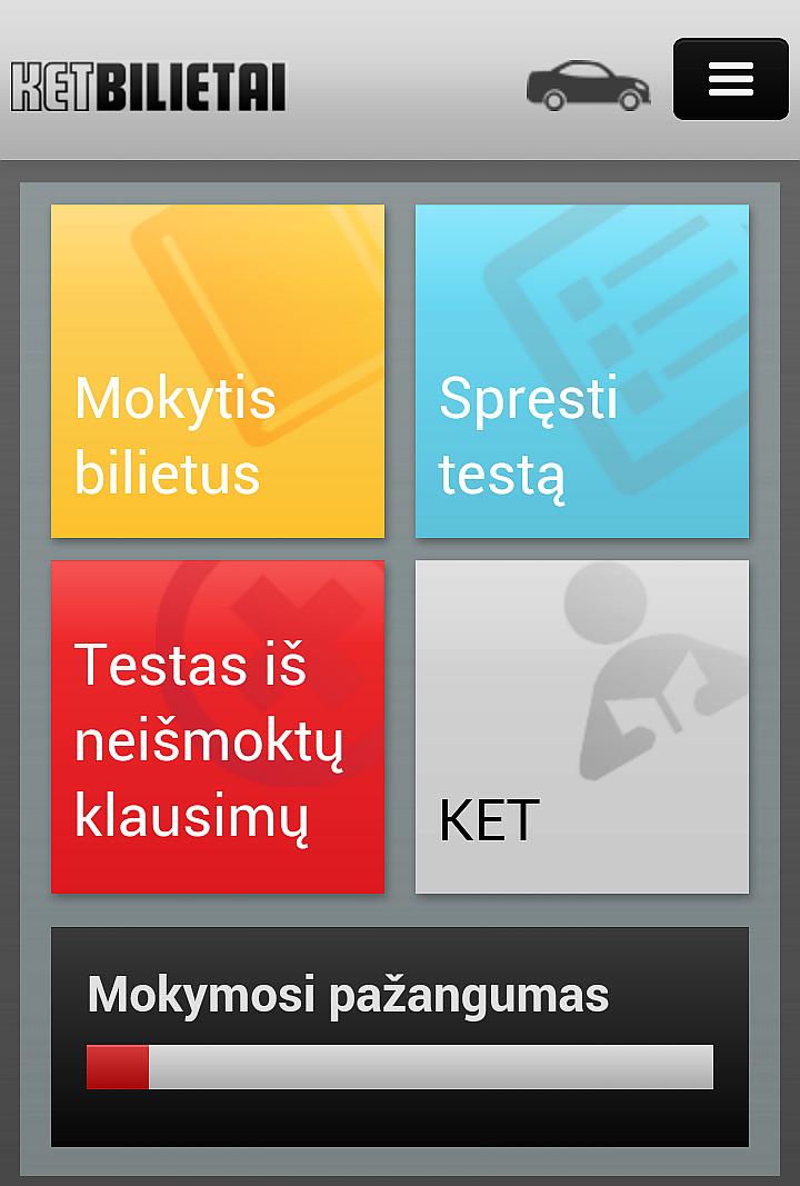 Mobili KET bilietai svetainė - mokytis, spręsti testą, blogi atsakymai, KET